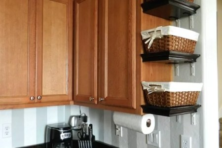 Cheap DIY Kitchen Shelving     Eatwell101 Great Shelves DIY Project on the Cheap Looking for a super easy and totally  cheap way to add storage space to your kitchen