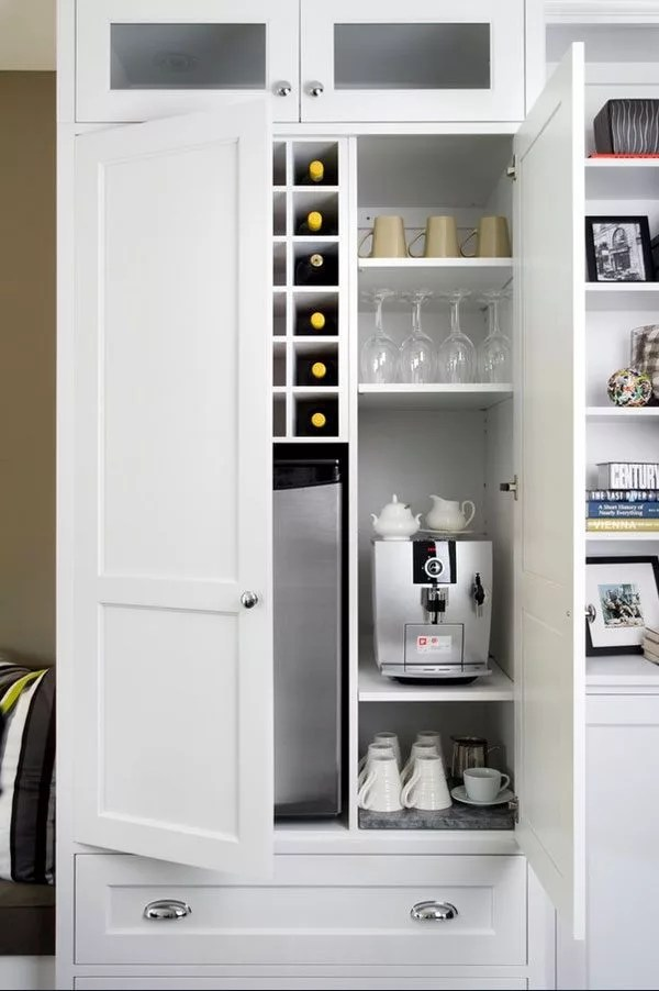 kitchen cabinet coffee bar