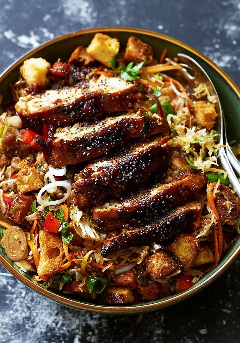 Grilled Chicken Cabbage Salad Recipe with Raspberry ...
