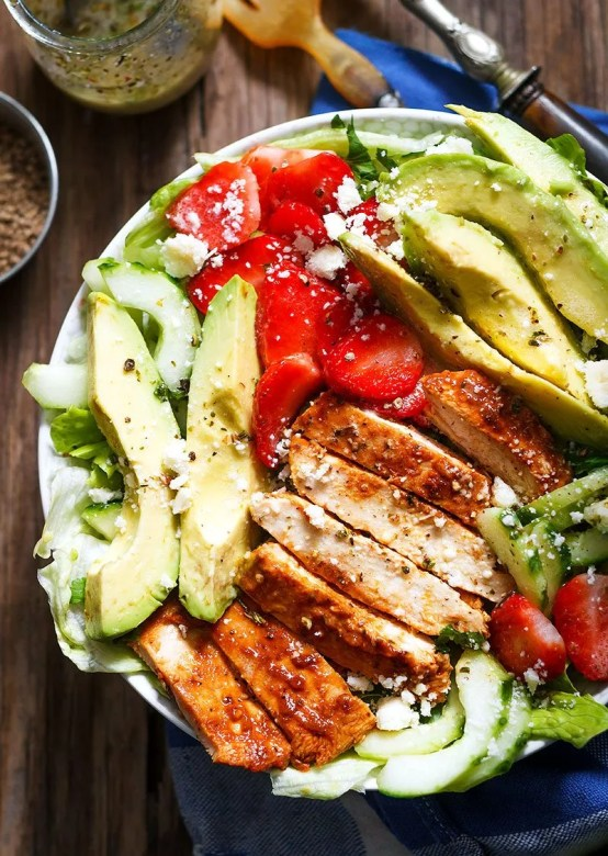 Grilled chicken salad for dinner