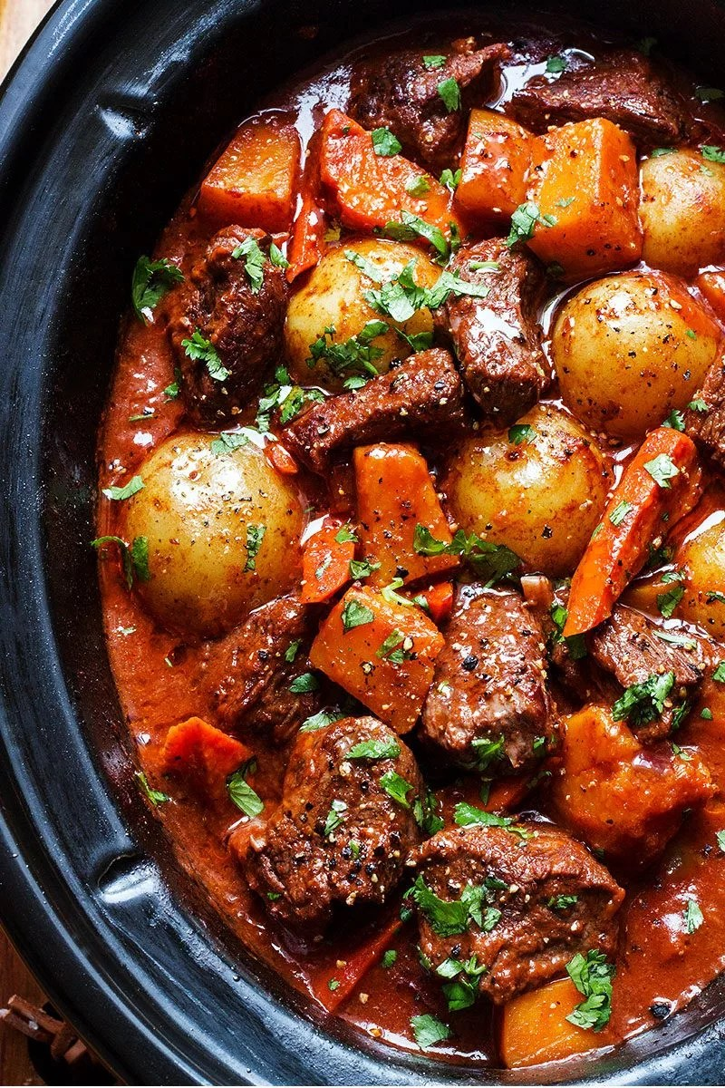 Slow Cooker Beef Stew Recipe with Butternut, Carrot and ...