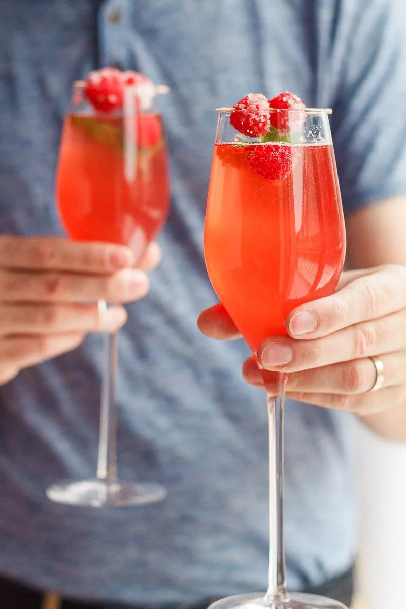 Raspberry Mimosas Cocktail Recipe Eatwell101