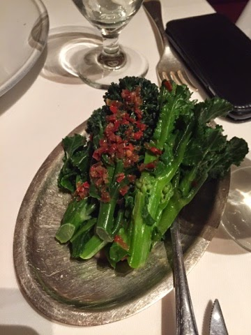 Purple sprouting broccoli with chilli and sherry at the Gilbert Scott, London