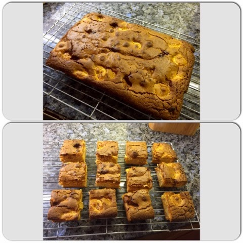 Caramel, banana and white chocolate blondies fresh out of the oven
