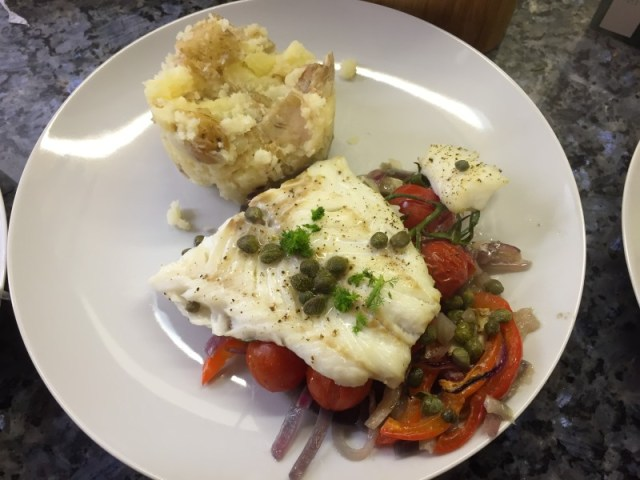 Roasted cod with fennel and balsamic vinegar