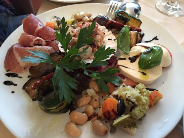 Antipasti platter at La Valle Trattoria, Munich