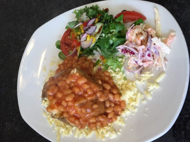 SImple jacket potato and beans at Damn Fine Cafe, Lichfield