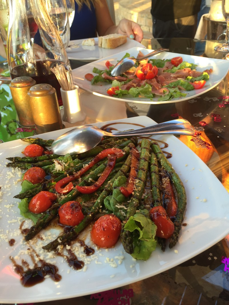 Griddled asparagus and Iberico ham at Archontiko,  Corfu