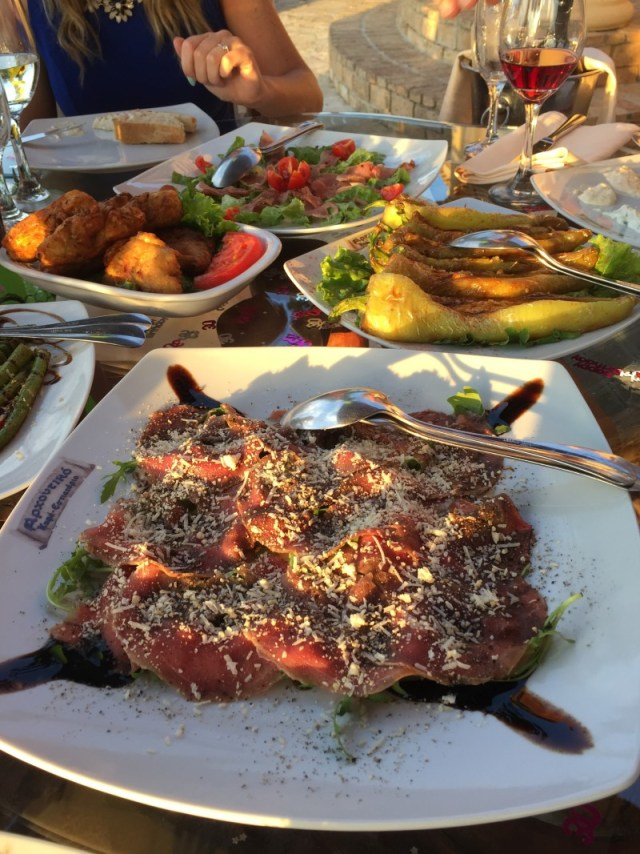 Beef carpaccio, stuffed peppers and courgette cakes at Archontiko, Corfu