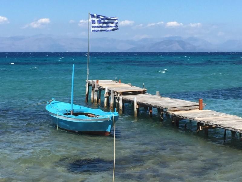 The beautiful view from Boukari Beach restaurant, Corfu