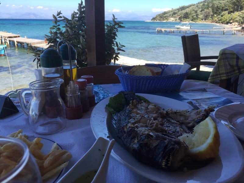 View of a beautiful lunch at Boukari Beach, Corfu