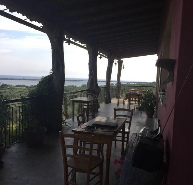 View of terrace at Bioporos, Corfu