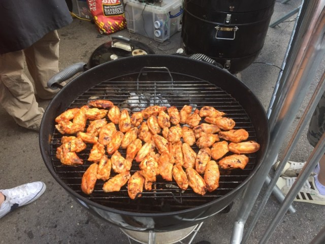 Chicken wings in the King of the Grill competition at Grillstock festival, Bristol