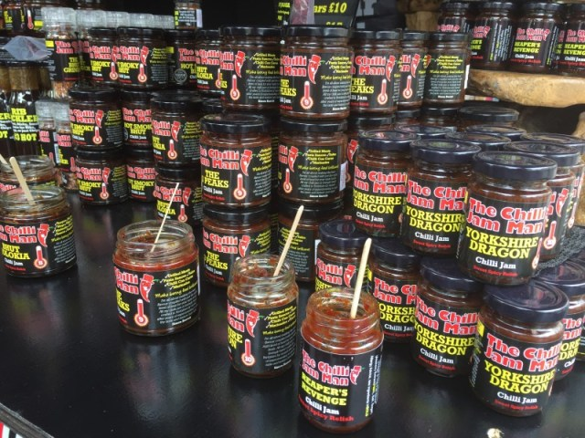 Sauces and pickles from the Chilli Jam Man at Grillstock festival, Bristol