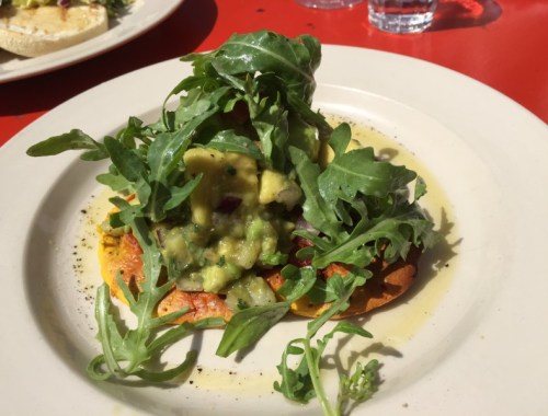 Yoghurt and chickpea pancake with avocado, tomato and jalapeno salsa at Grainstore, Kings Cross