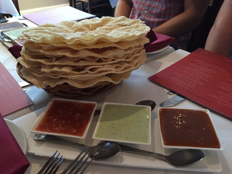 Poppadoms and dips at Milan Indian Cuisine, Birmingham