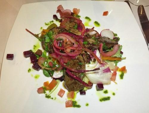 Lamb's liver starter at La Margherita, Rugby