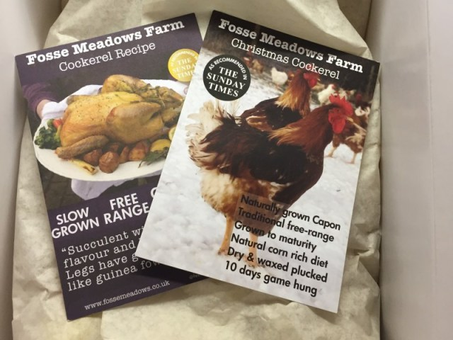 Fosse Meadows cockerel wrapped up ready