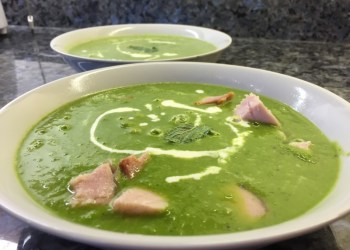 Homemade pea and ham soup