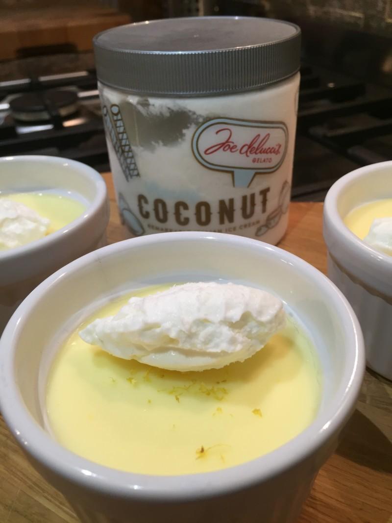 Lemon posset and coconut Joe Delucci's ice cream