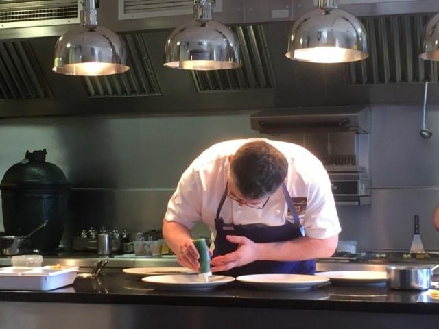Chef Adam Bennett at work at The Cross, Kenilworth