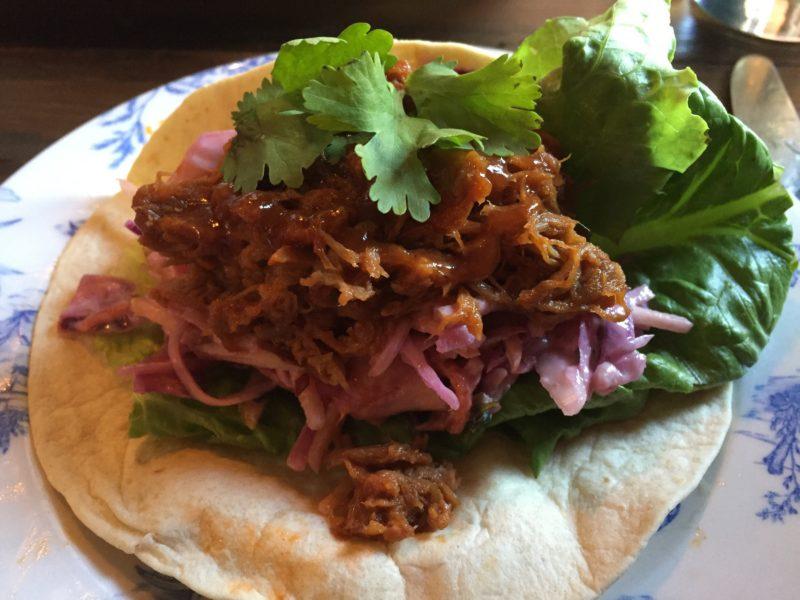 Pibil pork tacos at The Plough, Huddlesford
