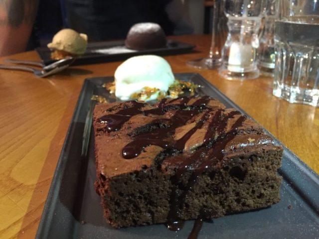 Chocolate brownie at The Ragged Cot, Minchinhampton