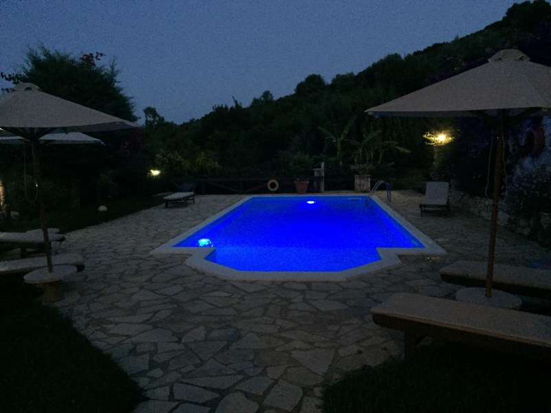 Night-time by the pool in Kefalonia