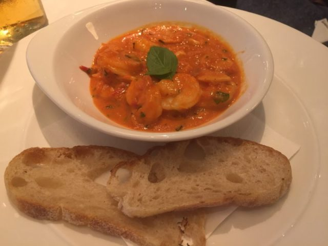 Tiger prawn starter at Gusto, Leamington Spa