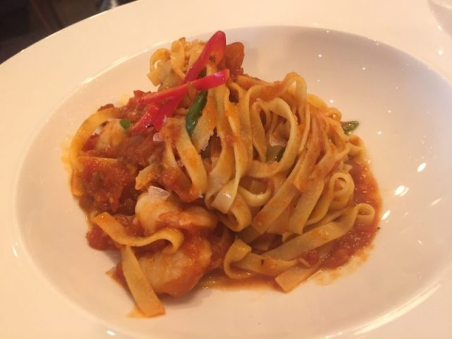Tagliatelle with prawns and garlic at Gusto, Leamington Spa