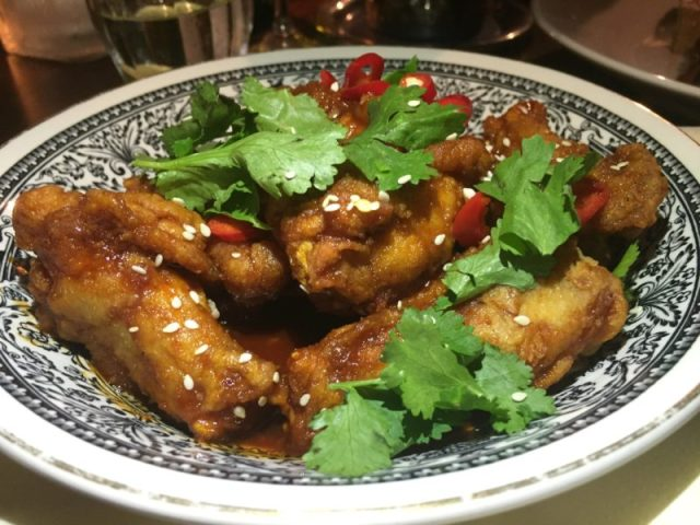 Korean chicken wings at the White Horse, Duns Tew