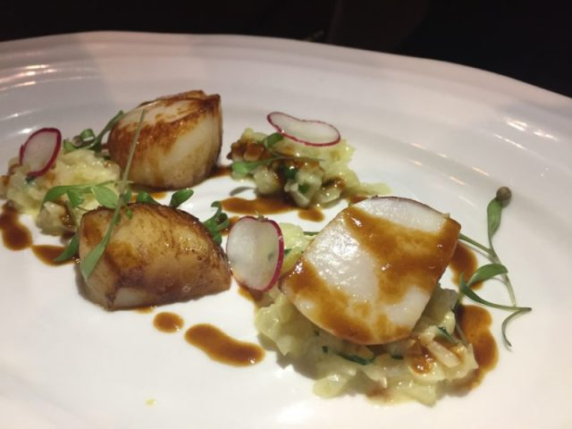 Pan-fried scallop at the White Swan, Shawell
