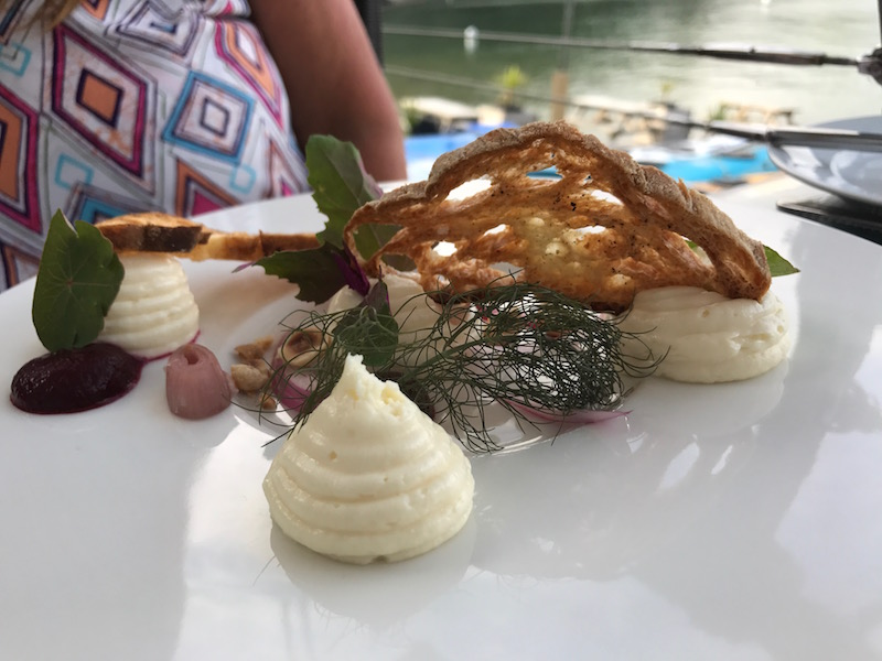 Goats cheese mousse starter at the South Sands Hotel, Salcombe