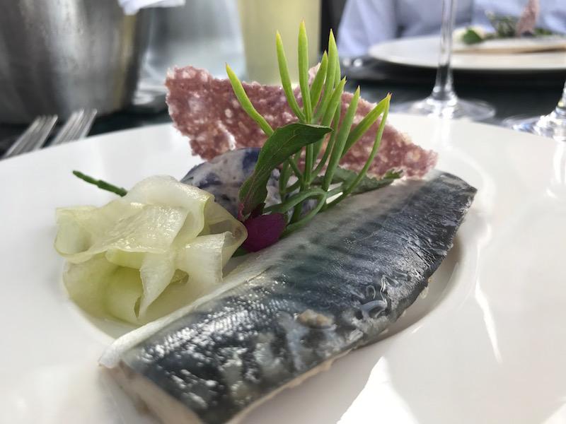 Pickled mackerel starter at the South Sands Hotel, Salcombe