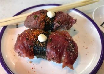 Beef Nigiri at Yo! Sushi