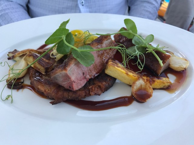 Duck breast main course at the South Sands Hotel, Salcombe