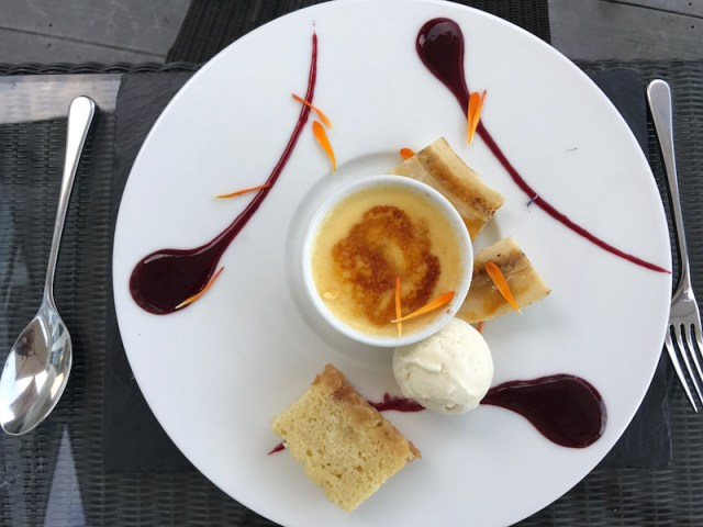 White chocolate brulee at the South Sands Hotel, Salcombe