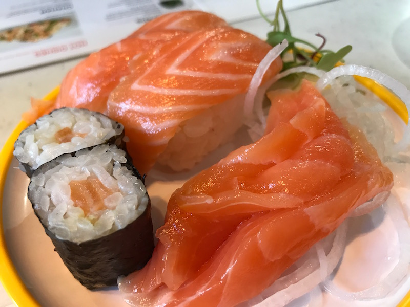 Salmon selection at Yo! Sushi