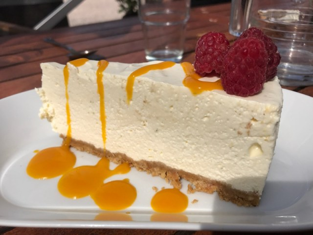 Cheesecake at the Vineyard Kitchen, Sharpham, Devon