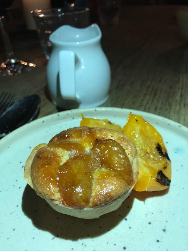 Grilled apricot, Hunza tart at The Mash Inn, Radnage