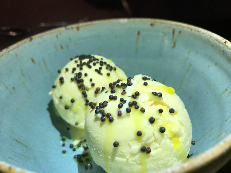 Rapeseed oil ice cream at The Mash Inn, Radnage