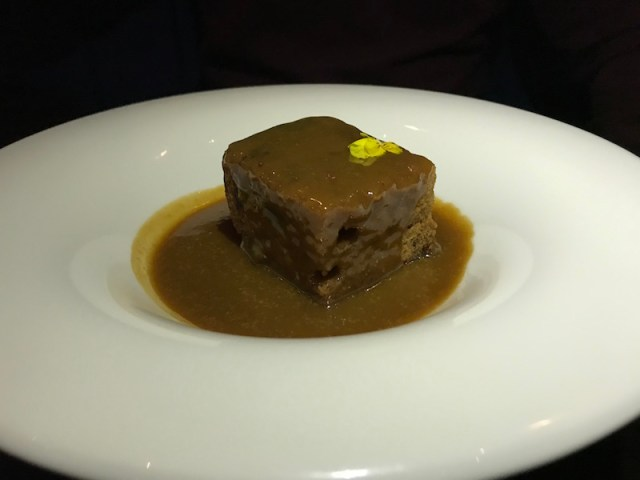 Sticky toffee pudding at Black Iron, Winstanley House, Leicester