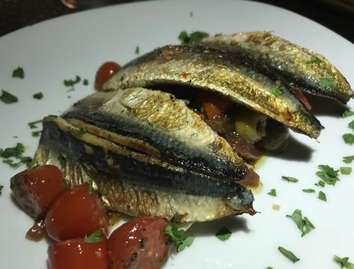 Sardine starter at Fisherman's Inn, Tenerife
