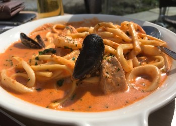 Seafood scialatielli at Langland's Brasserie