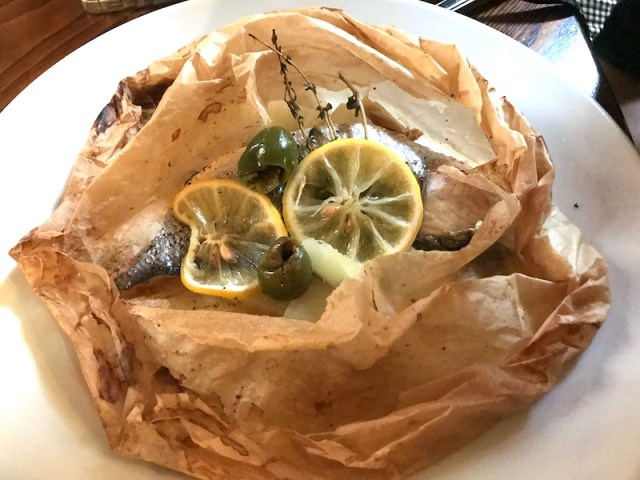 Sea bass en papillote at Hotel du Vin