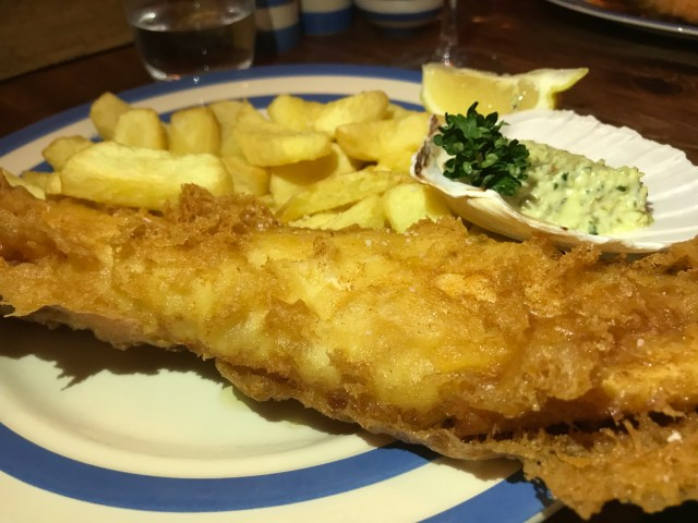 Fish and chips at the Scallop Shell, Bath