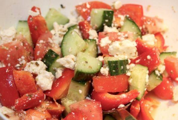 Serve with Greek salad