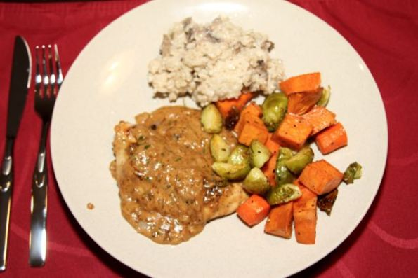 Seared Turkey Breast with Roasted Vegetables (and leftover mushroom risotto)