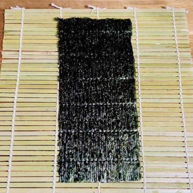 Nori Seaweed on Makisu Sushi Roll tool - EATwithOHASHI.com