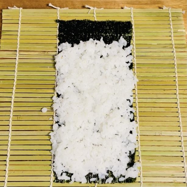 Sushi Rice Spreaded on Nori Seaweed on Makisu - Sushi Rolls - EATwithOHASHI.com.jpg